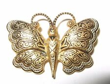 Vintage Spanish Damascene Butterfly Brooch