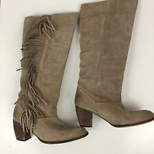 JC Made in Spain Womens Size 6.5/37 Tan Suede Boho Fringed Tall Calf Boots