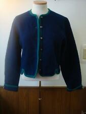 Tally Ho Blue Green Trim Boiled Wool Sweater Jacket Size 8 M Cropped Fitted