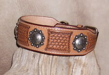 "Custom Saddle Tan Leather Dog Collar 2"" wide Hand Tooled, + Berry Conchos. G&E"