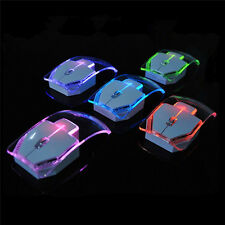 Creative Transparent Colorful Light Emitting Wireless Mouse For PC Laptop New
