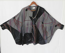 Vtg TKF Kowatari Tunic Top Size M (loose fit) Batwing 3/4 Sleeve Multicolored