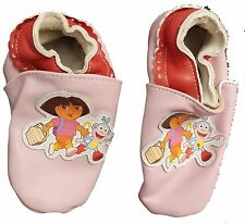 Dora The Explorer Leather Slippers Footlets Pink Nick Jr Sz 7-8 Planet Sox