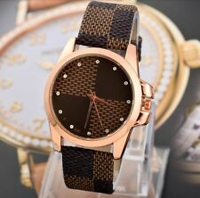 Montre Louis Damier Marron Swarovski Luxe Strass Cristal Femme Watch Lady Womens