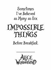Alice in Wonderland Impossible - Typography quote Decorative Vinyl Wall Sticker