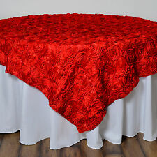 "72x72"" Red SATIN Raised Roses TABLE OVERLAYS Unique Wedding Party Toppers Linens"
