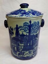 """Victoria Ware Ironstone Flow Blue Ice Bucket or Cookie Jar 13"""" tall x 8-1/2"""" dia"""