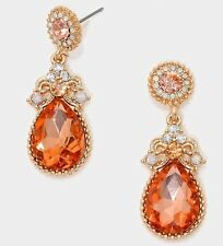 "1.75"" Drop Long Champagne Peach Rose Gold Crystal Rhinestone Earrings Chandelier"