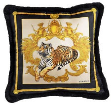 "VERSACE Tiger Medusa Pillow - 17.7"" - White/Black"