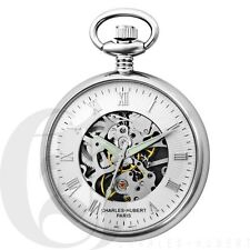 New Charles-Hubert Open Face 17 Jewels Mechanical Pocket Watch With Chain 3673