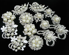 Wholesale 14x Faux Pearl Crystal Rhinestone Brooch Pins Bridal Wedding Bouquet