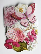 *PUNCH STUDIO Set of 4 Die Cut Blank Note Cards ~ Floral ~ Orchids ~ Butterfly