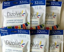 DIZOLVE WASHING POWDER SHEETS 32 WASHES PER PACK FRESH LINEN LAUNDRY DETERGENT