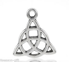 50PCs Gift Silver Tone Celtic Knot Charm Pendants 15x17mm