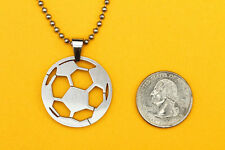SOCCER BALL PENDANT stainless steel sport charm jewelry, FREE beaded chain