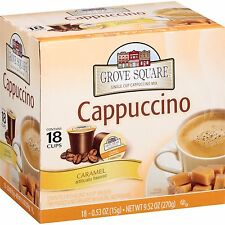 Grove Square Caramel Single Cup Cappuccino Mix 18 count  K-cups for Keurig