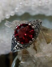 Art Deco/Edwardian Floral *Red Ruby* Sterling Silver Flower Filigree Ring Size 7