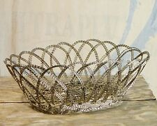 Basket/Metal/Silver Wire/Scroll/Display/Serving Bowl/Oval/Shabby Cottage Chic