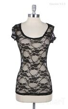 Women's Floral Lace Cap Sleeve T Shirt See Through Sheer Mesh Tee Top S M L