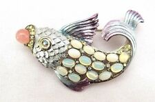 VTG Graziano Pastel Fish Brooch / Pin- Signed! Gorgeous!!Designer! RARE!