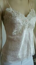 Christian Dior CD Lace Vintage Top Blouse Shirt ivory pink  * Sz Petite *