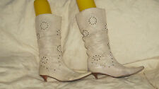 Lovely Ladies Womans cream mid calf boots size 6.5 (39) by Karen Millen