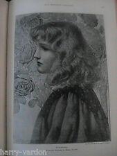 Henry Ryland Art Artist Antique Rare Engraving Drawing Book Plate Rosamunda 1899