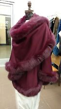 BURGUNDY WINE FOX FULL SKIN TRIMMED 100% CASHMERE SWING CAPE WRAP COAT NEW