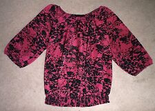 THE LIMITED Burgundy/Pink and Black Floral Print Blouse/Top M