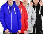 Mens Boys American Plain Fleece Hoodie Zip Up Sweatshirt Jacket size UK S-XXL