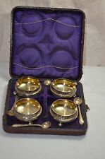 Victorian salt cellars in box dish with spoons case silver plate D makers Mark