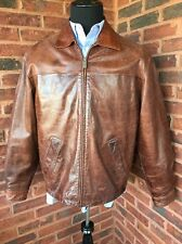 Wilsons Leather M. Julian Sz M Brown Full Zip Bomber Jacket Distressed