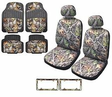 Camo Seat Cover Front Pair Rubber Floor Mats License Plates