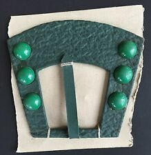 Vintage Dress Buckles - Large Green Art Deco Buckle