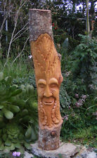 Green Man Pole Statue Gnome Tree Spirit Wood Carving Wall Mask Wicca Decor 41""