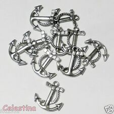 10 Antique Silver Plated Anchor Charms - Pirate Ship Rope Sailors Anchors 23mm