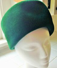 Vintage Noreen Hat - Dark Green Velour High Pill Box Early 60's