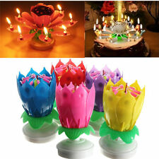 New Lotus Flower Rotating Happy Birthday Party Gift Lights Musical Candle