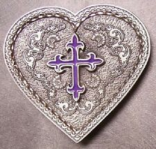 Pewter Belt Buckle Western Grace Heart Purple Cross NEW