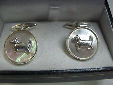gemelli madreperla e profili di cane  in argento 925 lavorazione artigianale