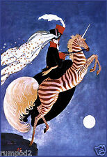 Art Deco Poster/Woman on Zebra Unicorn