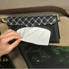 NEW Auto Sun Visor Tissue box Car Accessories Holder Paper Napkin Clip PU White