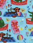TIMELESS TREAS HANGING AT THE POOL MONKEYS ELEPHANTS TIGERS  COTTON FABRIC BTY