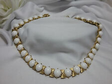 Vintage Gold Crown Trifari White Glass Pearl Beaded Gold Choker Necklace