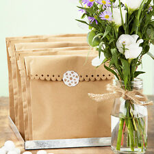 Kraft Brown Paper Bags x 8 & Stickers Wedding / Craft / Favours / Shop Wrapping