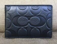COACH MEN'S SIGNATURE EMBOSSED  BLACK LEATHER ID  SLIM CARD CASE