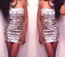 NWT bebe white silve strapless zip bustier sequin top dress sparke XS 0 2 tube