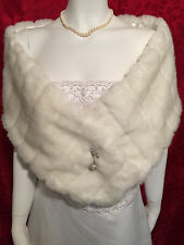 LONG WHITE Faux Fur Stole Shawl Wrap Bridal Wedding