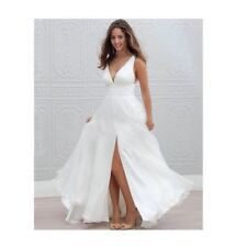 2016 New White/Ivory Beach Wedding Dress Bridal Gown Custom Size 8-10-12-14-16+
