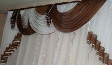Querbehang, Deko-Gardine  braun / weiss 1,80m breit